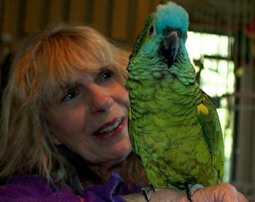Carla Lane with her Parrot